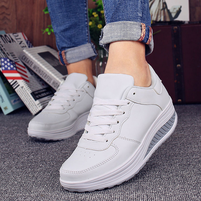 7791c8236da Women s Autumn Platform Trainers White Sneakers Lace Up Fashionable Casual  Wedges Shoes For Women Winter Black Footwear 2018
