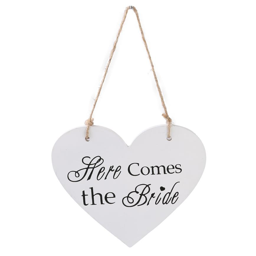 Wedding Decoration Here Comes the Bride Wooden White Wedding Flower Girl Ceremony Sign Decor 2017D5