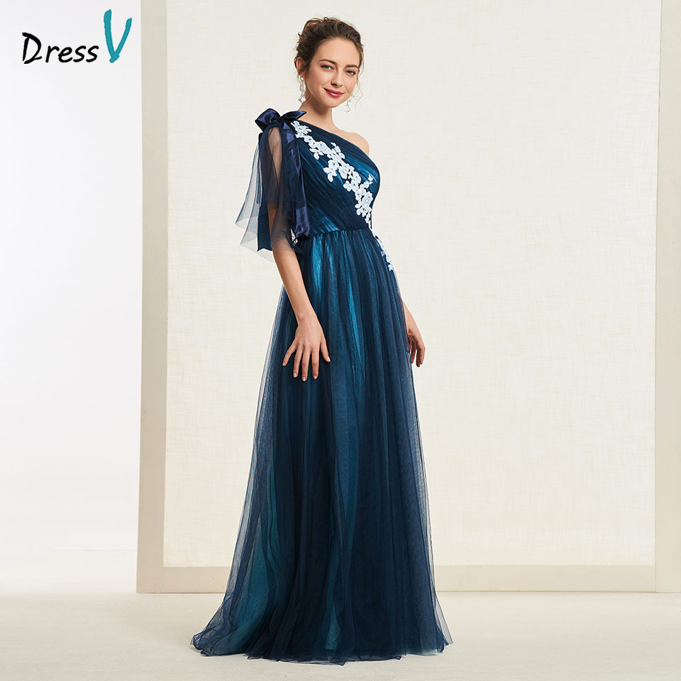 Dressv Party-Gown Appliques Navy-Blue Evening Long One-Shoulder Simple A-Line Floor-Length
