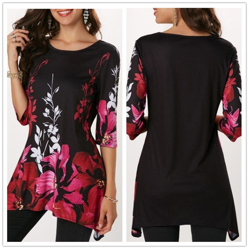 2019-Summer-Large-Size-S-5XL-Women-s-T-shirt-Half-Sleeve-O-Neck-Floral-Print (4)