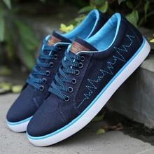 Breathable Men Canvas Shoes Summer Fashion Flats Men's Casual Shoes Black Blue Gray Zapatos De Hombre 2.5A