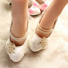 Autumn and winter Crystal Wedding Shoes White High Heels Rhinestone the bride Wedding Shoes embroidered Lace