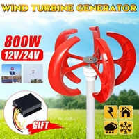 5 Blades 800W Vertical Axis Wind Turbines Generator Lantern 12V 24V Motor Kit Electromagnetic For Home Hybrid Streetlight Use