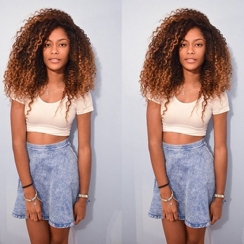 ФОТО Ombre Kinky Curly Wig Fashion Heat Resistent Black to Brown/Golden Ombre Wig Deep Curly Brazilian Hair Lace Front Curly Wigs