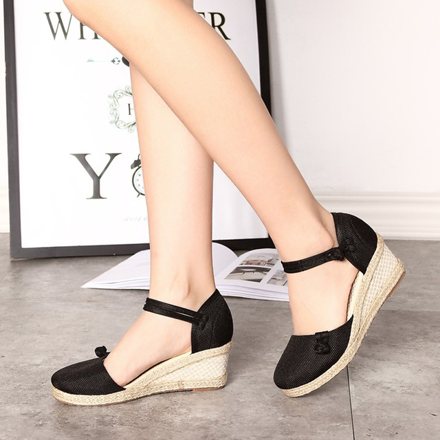 Chinese Style Casual Summer Sandals Women 2017 Hot Sale Femininio Shoes Wedges Espadrilles Old Peking Shoes Solid Color Shoes