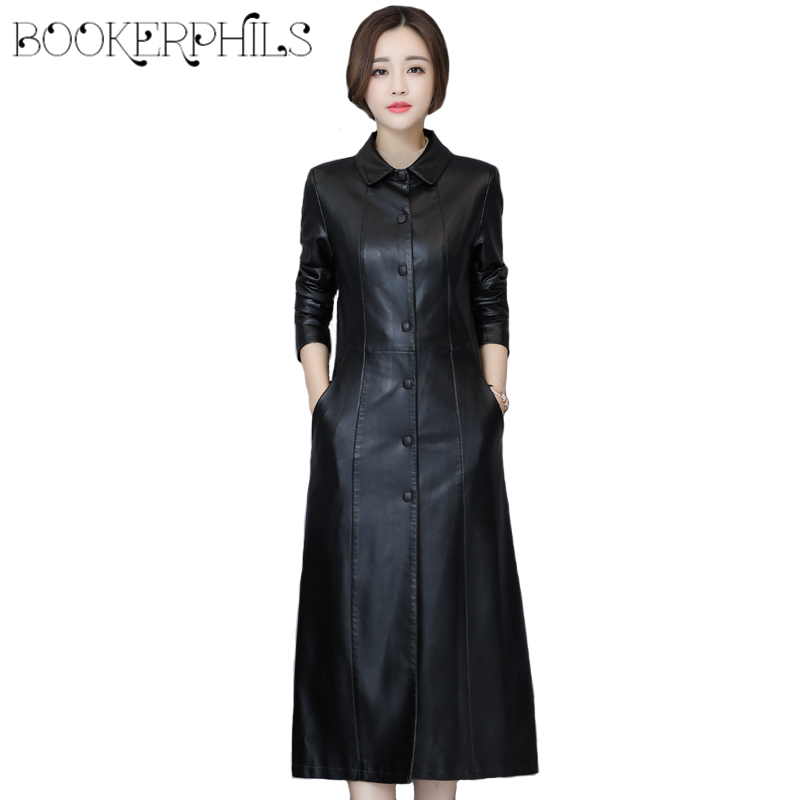 2018 Autumn Winter Long   Leather   Jacket Women Plus Size Black Slim Soft   Leather   Trench Coat   Leather   Clothing Female Outerwear 5XL