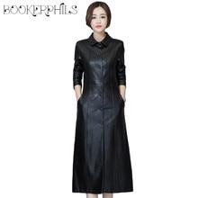 3bb406d1393 2019 Осень Зима Длинная кожаная куртка для женщин  большие размеры черный  тонкий мягкий кожаный плащ