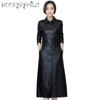 2019 Autumn Winter Long Leather Jacket Women Plus Size Black Slim Soft Leather Trench Coat Leather Clothing Female Outerwear 5XL