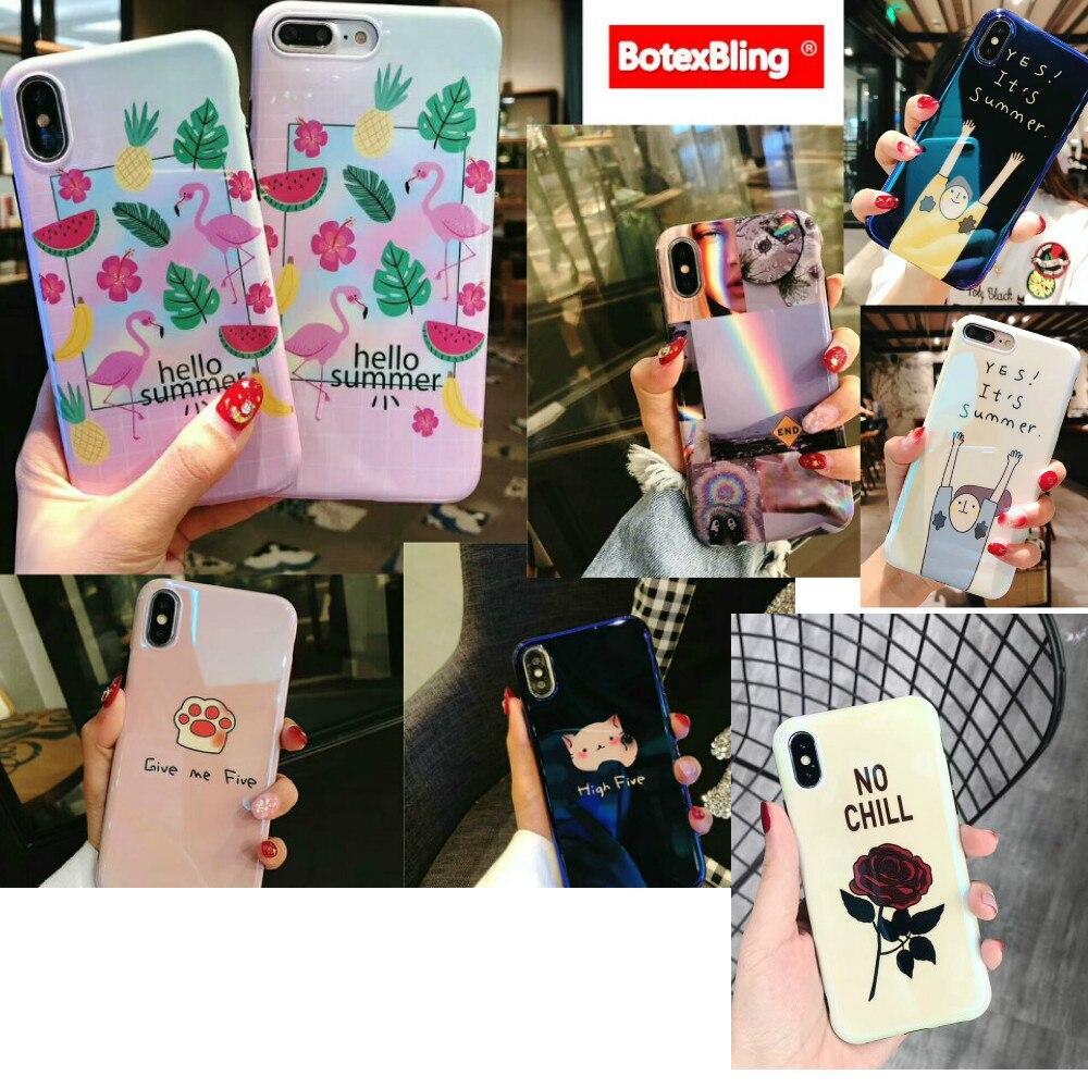 BotexBling frutta Estiva cute cartoon flamingo cat claw morbido silicone cassa del telefono per iphone caso X 7 7 plus 8 8 più 6 6 s più Rosa