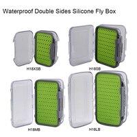 Aventik водонепроницаемые двойные стороны силиконовые Fly Box Силиконовые вставки Fly рыболовные снасти коробки двухсторонняя баночки для крема ...