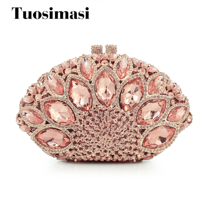 Hollow Out champagne Giant Stones Women Crystal Clutch Evening Bags Bridal Wedding Party Prom Handbag Purse Shoulder Clutches