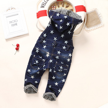 0-4T Baby Overalls Spring Girls Boys Stretchy Stars Jeans Rompers Top Quality Kids Cotton Pants Hooded Jumpsuit Babe Clothes 1