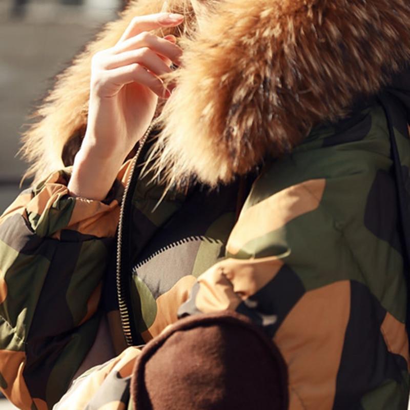 Longue Rembourré Dames Collar Mode Femmes Collar Fur camo Ouatée Qualité Fermeture La Haute Plus Wq513 Taille Éclair Hiver Veste Chaud New Coton Manteau Parkas Real Camo De 2017 Faux wqnf06tq