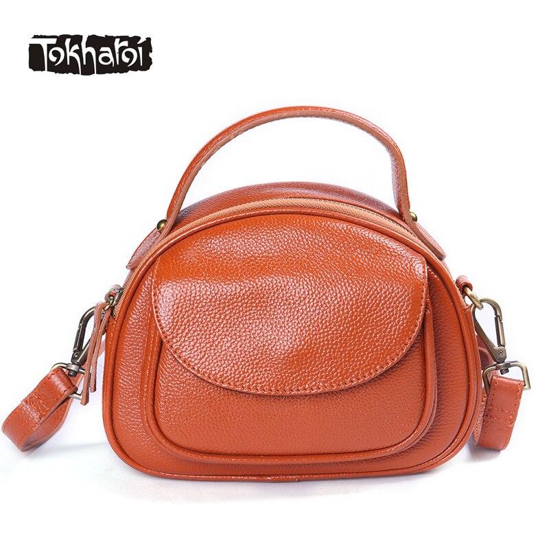 Tokharoi Original Design Women Genuine Cow Leather Handbags Vintage Flap Small Bag Cover Zipper Solid Shoulder Bags Purse 2017