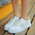 Mulheres Sapatos Casuais 2016 Nova Primavera Outono PU Mulheres Sapatos Da Moda Apartamentos Sapatos de Plataforma Estrela Sola De Borracha Branca