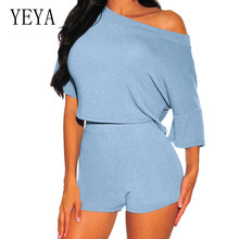 YEYA Elegant Two Pieces Sets Half Sleeve Jumpsuits Summer Casual Fashion Playsuits Women High Quality Street Overalls