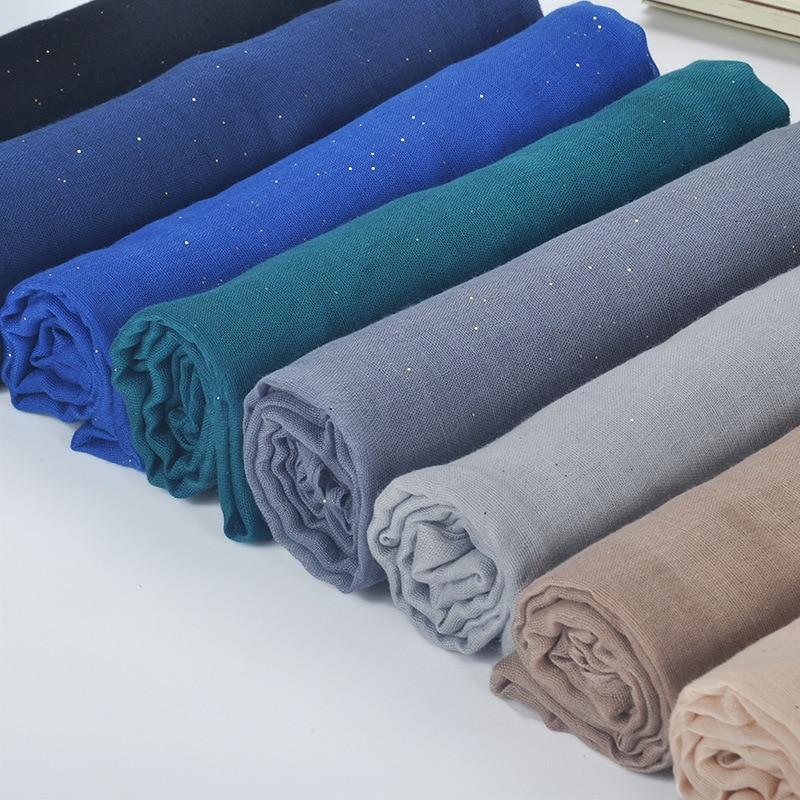 1 pcs Plain hijabs for women viscose solid shawl Glitter Gold scarf muslim head wrap elegant scarves plus size hijab scarf