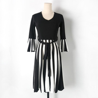 2017 New Arrival O Neck Half Sleeve Knitted Dress Black And White Striped Dress Slim Sweater