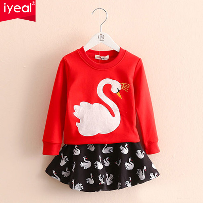New Arrival Children Girl Casual Clothes Set long sleeve Tops+Skirt for Girl Outfit Brand Girls Clothing Spring Sport Suits 3pc toddler baby girls clothing denim t shirt tops long sleeve leopard skirt set kids clothes girl outfit