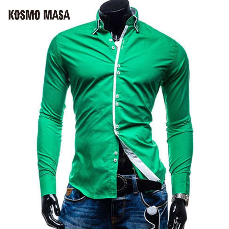 Casual Shirts Shirts Forceful Kosmo Masa 2017 Hot New Arrival Men Turn-down Collar Jersey Casual Plaid Shirt Long Sleeve Shirts Mb0013 Cheap Sales