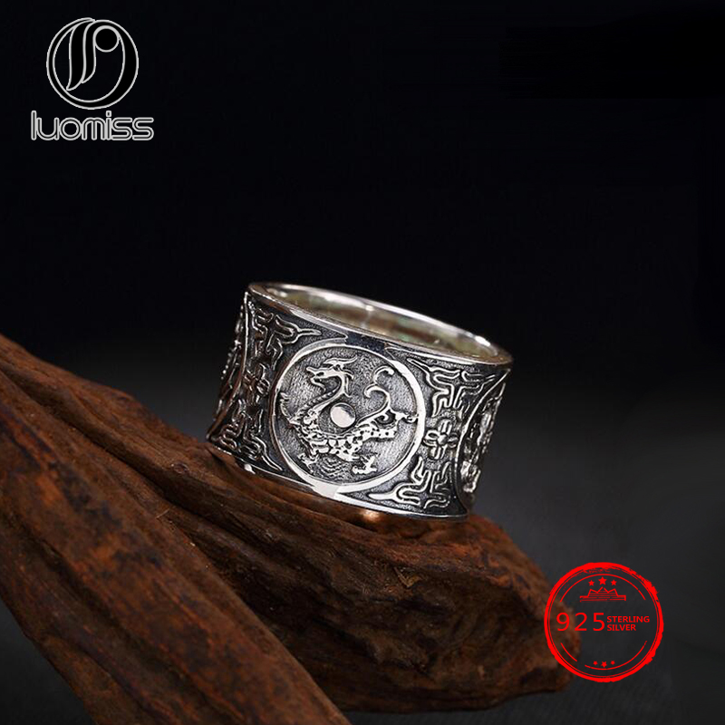 14mm Solid 999 Sterling Silver Chinese Ancient Four Mythical Creatures Ring for Women Men 14mm Solid 999 Sterling Silver Chinese Ancient Four Mythical Creatures Ring for Women Men