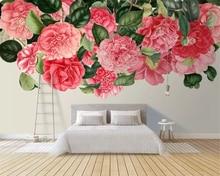 Beibehang Custom wallpaper modern art hand-painted flowers flowers roses living room TV background wall wallpaper for walls 3 d