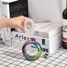 Alkohol armreif Flachmann Lebensmittelqualität 304 Edelstahl innovative Wein Flasche 3,5 unze Silber/Regenbogen/Goldene Whiskey Trinken