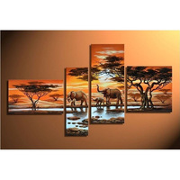 Elephant 4pcs diamond painting tree cross stitch painting full River diy embroidery rhinestones painting kits triptych painting