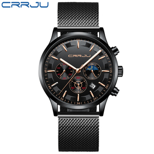 Image 2 - New crrju Men Watches Top Brand Luxury Quartz Clock Chronograph Fashion Mesh Steel Watch Waterproof Sport Mens Watch Saat 2019