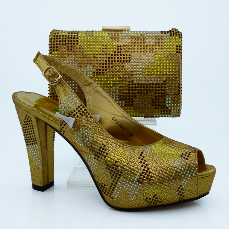Wonderful summer design Italy Fashion yellow color Shoes And Bags To Match For African Party Or