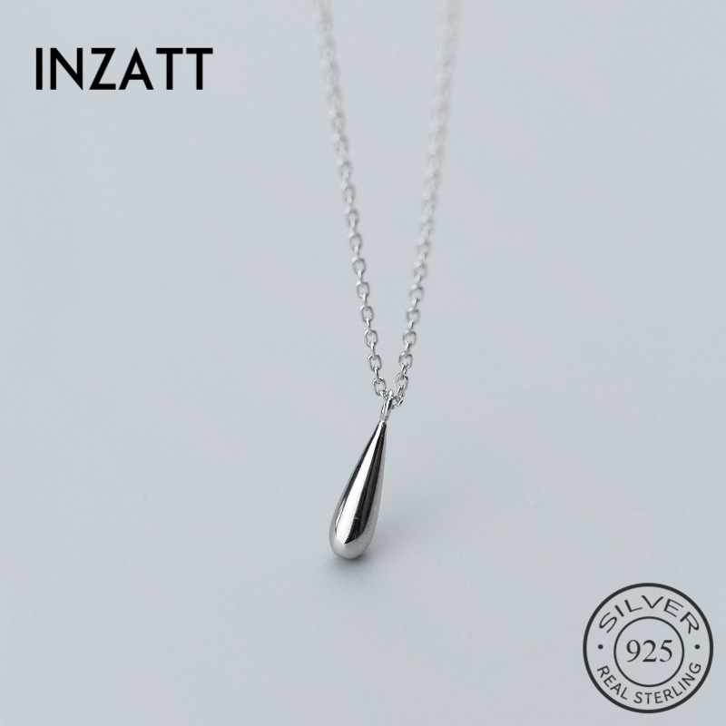 INZATT Real 925 Sterling Silver Minimalist Water Drop OL Pendant Necklace For Charm Women Party Fine Jewelry Accessories GiftINZATT Real 925 Sterling Silver Minimalist Water Drop OL Pendant Necklace For Charm Women Party Fine Jewelry Accessories Gift