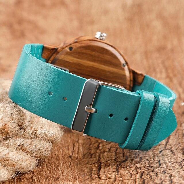 Mode Creative bois montres hommes Nature bambou fait à la main Montre-bracelet bleu Quartz Montre homme sport robe montres Montre en bois 3