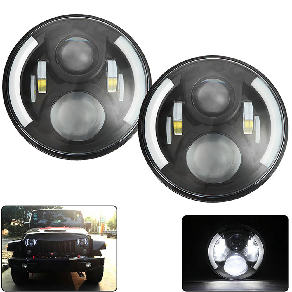 7'' inch Round LED Headlights Bulb Lamp H4 H13 With Angel eyes DRL for Jeeps Wrangler JK Hummer 7inch led motorcycle headlights 7 round 40w high low beam with angel eyes for 97 2015 jeeps wrangler jk