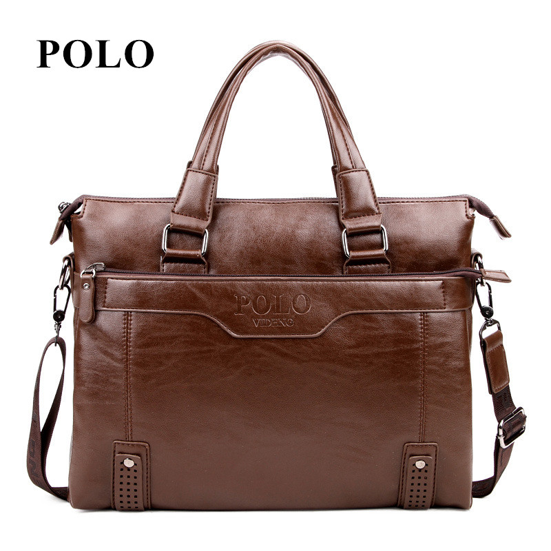 New Brand POLO men's leather messenger s