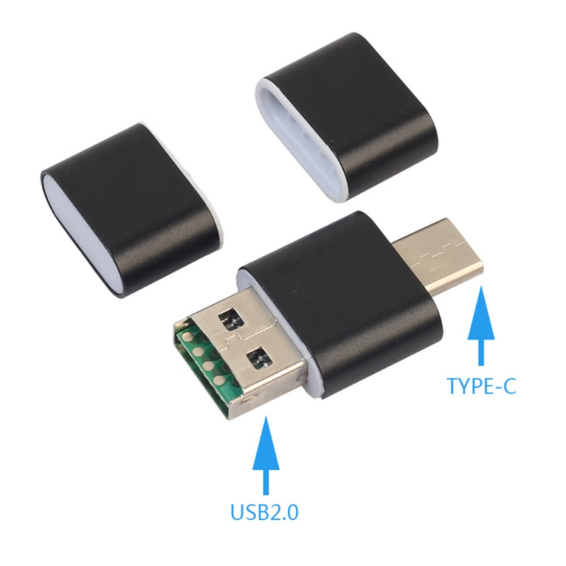 Universal 2 In1 Type-C Card Reader USBA Male + Type C To MicroSD USB 3.1 Gen1 Type C TF Card Reader For Smartphone PC