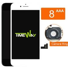 เกรด AAA LCD สำหรับ iPhone 8 จอแสดงผล LCD หน้าจอสัมผัสพร้อม Digitizer อะไหล่ชุดเปลี่ยนผู้ถือกล้อง + หูตาข่ายฟรีเรือ