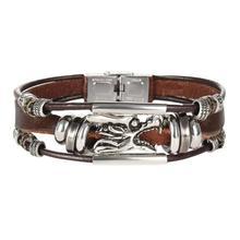 Fashion Men Bangle Alloy Chinese Dragon Head Leather Strap Wristband Punk Trendy Bracelet Homme Pulseiras Cuff Bracelets y1