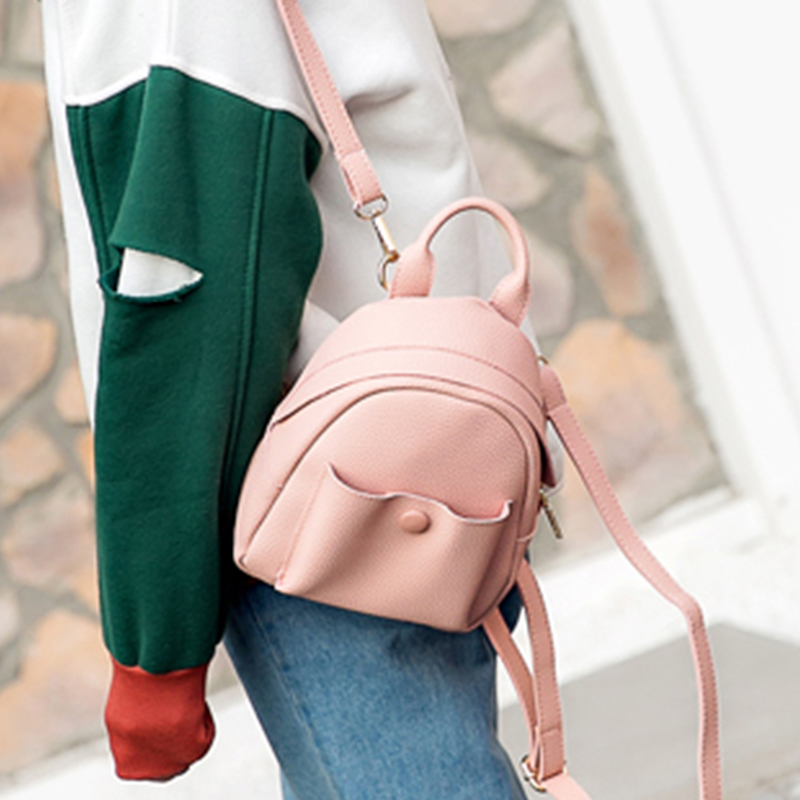 Mini New Korean Backpacks Fashion PU Leather Women Shoulder Bag Solid Pattern Small Backpack Girls School Bags women backpacks fashion pu leather shoulder bag small backpack women embroidery dragonfly floral school bags for girls