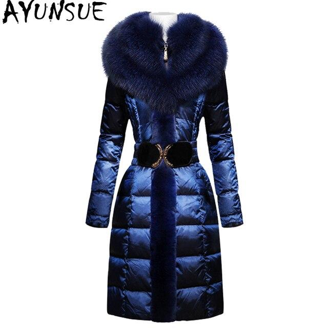 AYUNSUE moda zimowe ocieplane kurtki kobiety kołnierz z futra lisa szczupła ciepła puchowa kurtka kobiet długa Parka panie elegancka odzież wierzchnia z kapturem 754