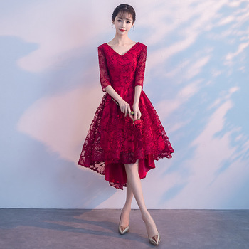 Classic Women Dress Traditional Chinese Modern Qipao V-neck Wedding Cheongsam Robe Mariage Femme Oriental Styled Dresses