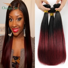 "3PCS 7A Brazilian Hair Ombre Burgundy Straight Two Tone Human Hair Extensions Tissage Bresilienne Ombre Hair Weave 10-30"" DS304"