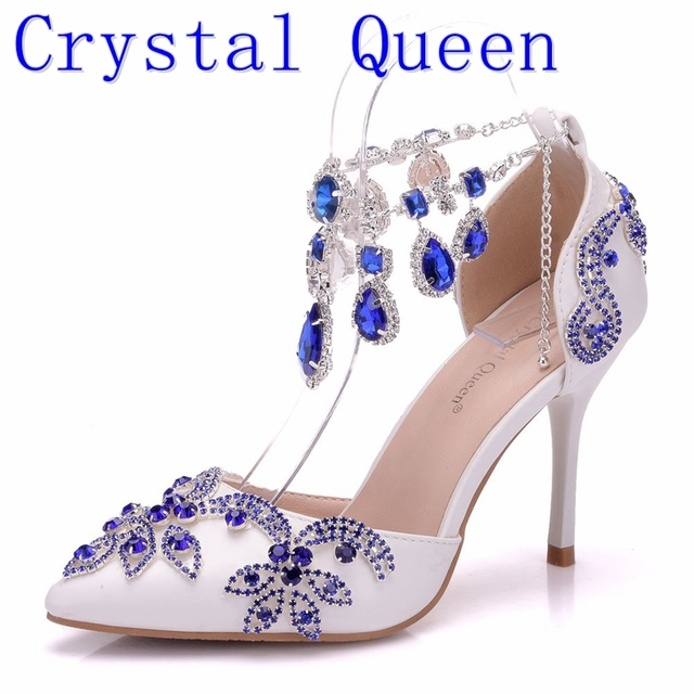 e1db4bc375b6 Crystal Queen Women Pumps Blue Diamond Wedding Shoes High Heels Stage Party  Dress Wedding Toast Party Shoes Bride Sandals