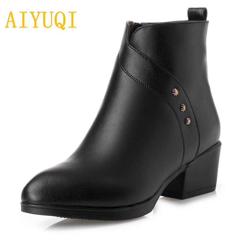 AIYUQI Female Martin boots 2019 winter new genuine leather women booties, trend pointed head big size 35-43 women shoesAIYUQI Female Martin boots 2019 winter new genuine leather women booties, trend pointed head big size 35-43 women shoes