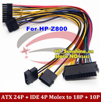 Материнская плата ATX 24 P + IDE 4 P Molex до 18 P + 10 P конвертер Мощность привести кабель для hp Z800 рабочей станции передаваемый DHL
