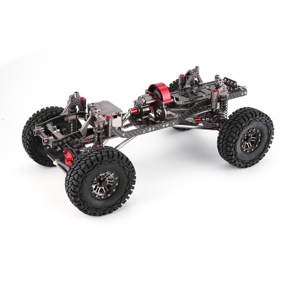 CNC de Alumínio do Metal e Quadro De Carbono Corpo para RC Carro 1/10 AXIAL SCX10 Chassis 313mm Distância Entre Eixos Do Veículo Rastreador Carros partes