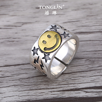 Tonglin 925 sterling silver wide students Thai silver couple smile ring good luck smiling face american personality cool gift