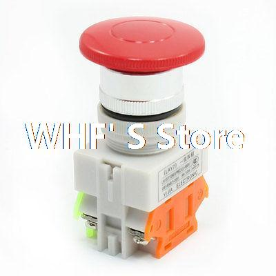 Ui 660V Ith 10A Red Mushroom Button Momentary Pushbutton Switch DPST цена и фото