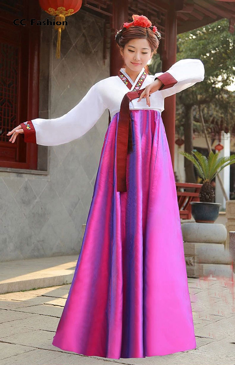 High Quality Silk Women Hanbok Long Sleeve Traditional Korean National  Costumes Korean Ancient Cothes Hanbok Dress 17-in Asia   Pacific Islands  Clothing ... a4c64060ec41