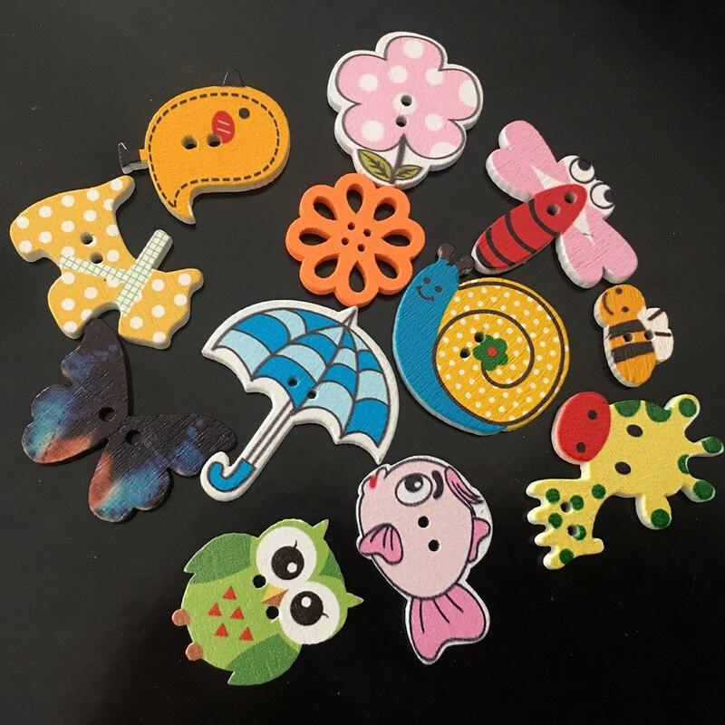 Красочные смешанные Мультяшные животные деревянные пуговицы Скрапбукинг ремесла DIY Детские аксессуары пошива одежды декор с якорем