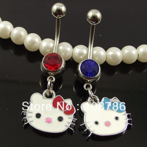 12pcs Free Shipping Belly Button Ring Wholesale Piercing Body Jewelry hello Kitty Belly Rings Navel Animal jewelry